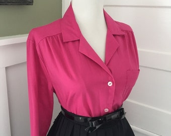 Vintage Fuchsia Hot Pink Cotton 1950s 1960s Atomic Button Down Long Sleeve Blouse