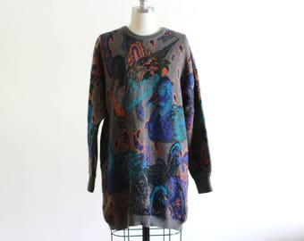 Vintage Abstract Escada Sweater Tunic / Abstract Sweater / Oversized Fit Designer Vintage