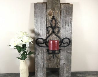 Wall Sconce Made Of Reclaimed Wood Picket Fence