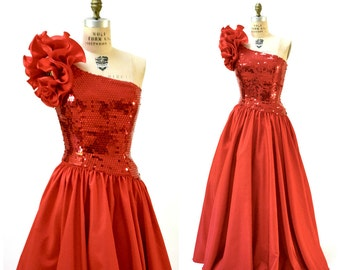 Vintage 80s Party Dress Sequin Evening Gown in Red Small Medium// 80s Prom Pageant Dress Red Sequins Size Small Medium by Mike Benet