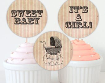 Baby Shower Cupcake Toppers - Vintage Baby Stroller - 2inches - Pink - Printable