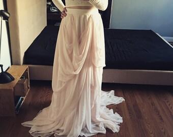JoJo-Custom wedding skirt-Chiffon wedding skirt-Blush wedding skirt-nude bridal skirt-wedding skirt