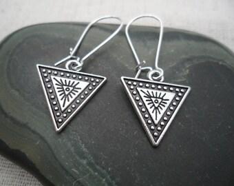 Silver Bohemian Earrings - Simple Everyday Silver Earrings - Aztec Dangle Drop Earrings