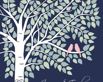 Guest Book Tree, Wedding Guest Book, Navy Wedding, Wedding Guestbook Alternative, Wedding Guest Book, Navy and Coral, Guest Book Print