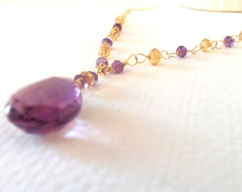 Ametrine Amethyst Citrine AAA Gemstone Handmade Necklace with 14kt Gold Fill