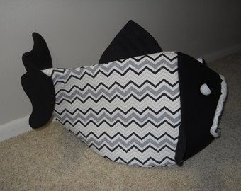 Fish Shaped Pet Bed Black Gray and White Chevrons