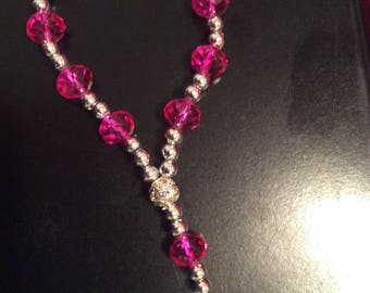 Clear crystal cross beaded bracelet/fuchsia crystal beads