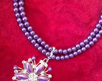 Beaded crystal necklace purple/silver/clear rhinestone/other colors available/sale!