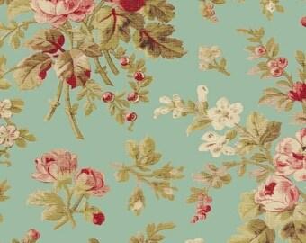 Floral on Aqua 42647-2 - AUBREY -  Windham Fabrics - By the Yard