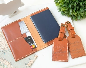 Personalized Leather Passport Cover, Custom Leather Passport Holder, Monogram Leather Luggage Tag TWO, Travel Wallet, Wedding Gift