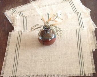 Woodland Green Burlap Placemats, Set of Four Grain Sack Striped Placemats