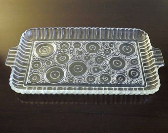 Dresser Tray, Vintage Glass Tray, Mod Lunch Plate, Retro Tray, Circle Pattern Tray, Punch Cup Plate, Pressed Glass Tray, Glass Serving Tray