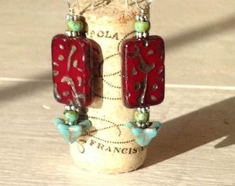 Red Czech Glass Earrings