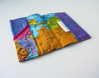 World map passport cover purple