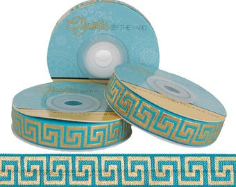 Teal with Metallic Gold Maze - Fold Over Elastic - 5 YARDS