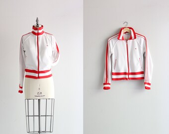 70s 1970s Track Jacket . Red and White Athletic Jacket . Womens Track Jacket