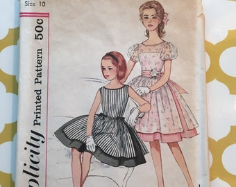 RARE 1960S Simplicity Sewing Pattern 3896 Girls Formal Party Dress Size 10 cut-Girls Pattern, girls party dress pattern, formal girls dress