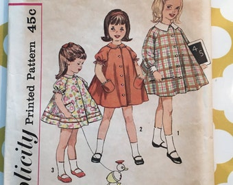 RARE 1960'S Simplicity Sewing Pattern 4283 Girls Jumper Dress Smock Size 4 cut-Girls Pattern, girls jumper dress pattern, 1960s pattern