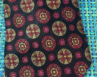 Vintage Ernst San Francisco Polyester Wide Mens Black w/Red and Gold Medallions Necktie - retro necktie,wide necktie, black and red  tie