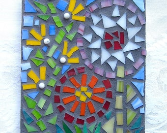 Wall Decor, Original Art, Flowers, Mosaic, Handmade, Gift, Mothers Day, Wedding, Shower, Wall Hanging, Nursery, Mosaic Art