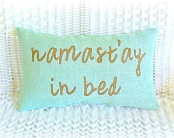 Burlap Lumbar Pillow / Mint Green / Namast'ay In Bed