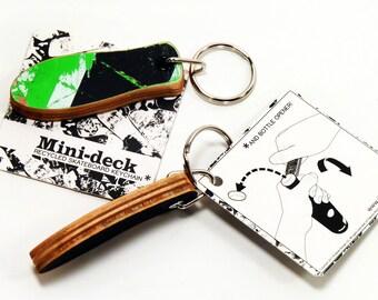 """Recycled Skateboard Keychain - """"Popsicle"""" shape - Skater Gift Key Ring and Emergency Bottle Opener for Skateboarder"""