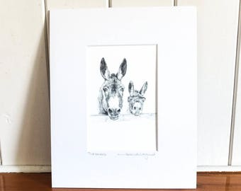 Print - Two Donkeys - Pencil Drawing