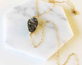 Druzy Y Necklace - Charcoal Druzy with CZ, Druzy Jewelry, Y necklace, Lariat, boho jewelry