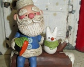 Christmas folk art Santa on a log with snow bunny by Janell Berryman Pumpkinseeds