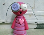 Valentines Love Bug dark PINK small with heart sculpted original art by Janell Berryman Pumpkinseeds