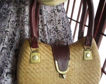 1960's Wicker & Leather hand bag