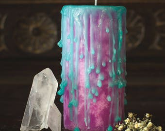 UNDRESSED Love spell wax, spiritual candles, witchcraft candle, celtic knot, goddess candle, pink and turquoise candle, aphrodite