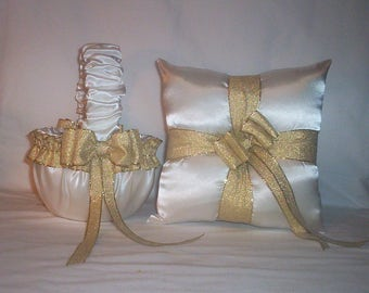 Ivory Cream Satin With Gold Metalic  Ribbon Trim Flower Girl Basket And Ring Bearer Pillow Set 1
