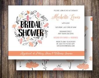Floral Bridal Shower Invite, Wreath Bridal Shower Invitation Printable, Floral Bridal Shower Card in Pink, Orange and Black