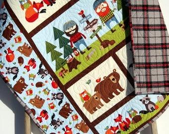 Lumberjack Quilt, FLANNEL Baby Boy Bedding, Woodland Forest, Bears Fox, Outdoor Nature, Nursery Crib Blanket Blue Brown Orange Ready to Ship