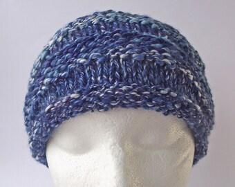 Knitted Headband, Handspun Knit Hairband, Blue Purple White Hairband, Adjustable Headband, Art Yarn Headband, Merino & Ramie Knit Earwarmer