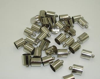 Nickel Color Brass End Cap-Cord End-Connector-12x8mm.