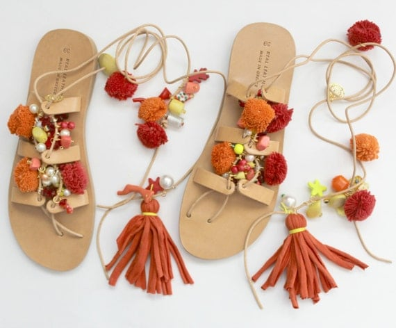 Greek Sandals, Tie Up Gladiator Sandals, Pom Pom Sandals Sandales grecques