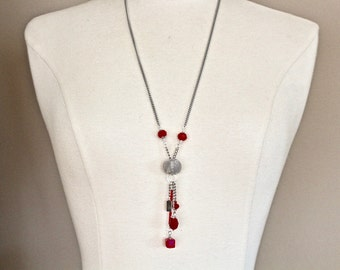 Upcycled Vintage Tassel Necklace, Silver Opaque Red Glass Teardrop, Swarovski cube long original Jennifer Jones boho design hand wired OOAK