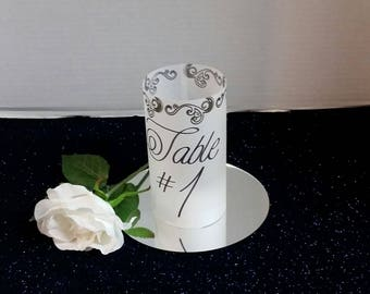 Wedding table luminaries, luminaires table decor, table numbers,