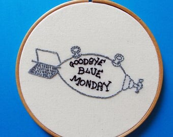 Goodbye blue Monday - hand embroidered Kurt Vonnegut illustration wall art