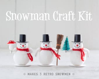 Snowman Craft Kit - DIY Spun Cotton Snowmen Christmas Decorations