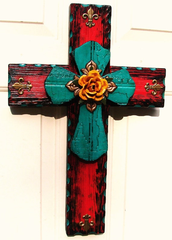DC024C Red & Turquoise Stacked Rustic Cross with Yellow Rose