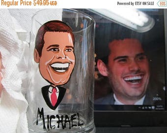 ON SALE Custom Portrait Caricature Hand Painted Wine Glasses Caricature Personalized Glasses