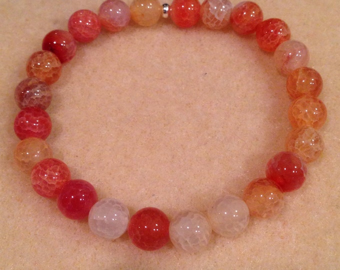 Citrus Fire Agate 8mm Round Stretch Bead Bracelet with Sterling Silver Accent