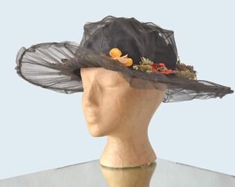 Edwardian Black Net Hat w Flowers