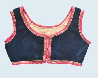 German 1930's Cropped Velvet Costume Vest size S