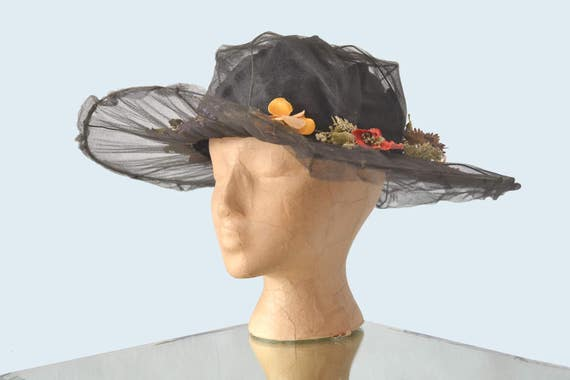 Edwardian Black Net Hat w Flowers