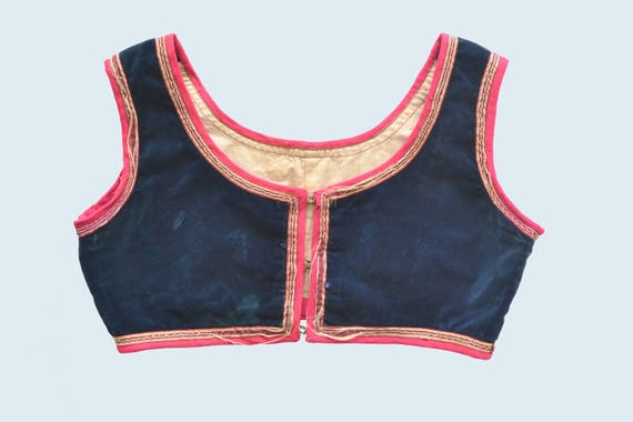 German 1930's Cropped Velvet Costume Vest size S