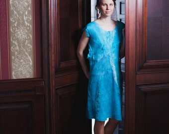Blue Dress, Light Blue Wedding, Midi Dress, Off Shoulder Dress, Loose Dress, Plus Size Tunic, Turquoise Dress, Wool Dress, Designer Dress